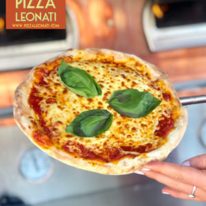 The classic, Leonati Red Sauce, Mozzarella and Basil which is in our Red Sauce.